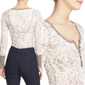 Free People Davis Mottled Thermal Henley Tee